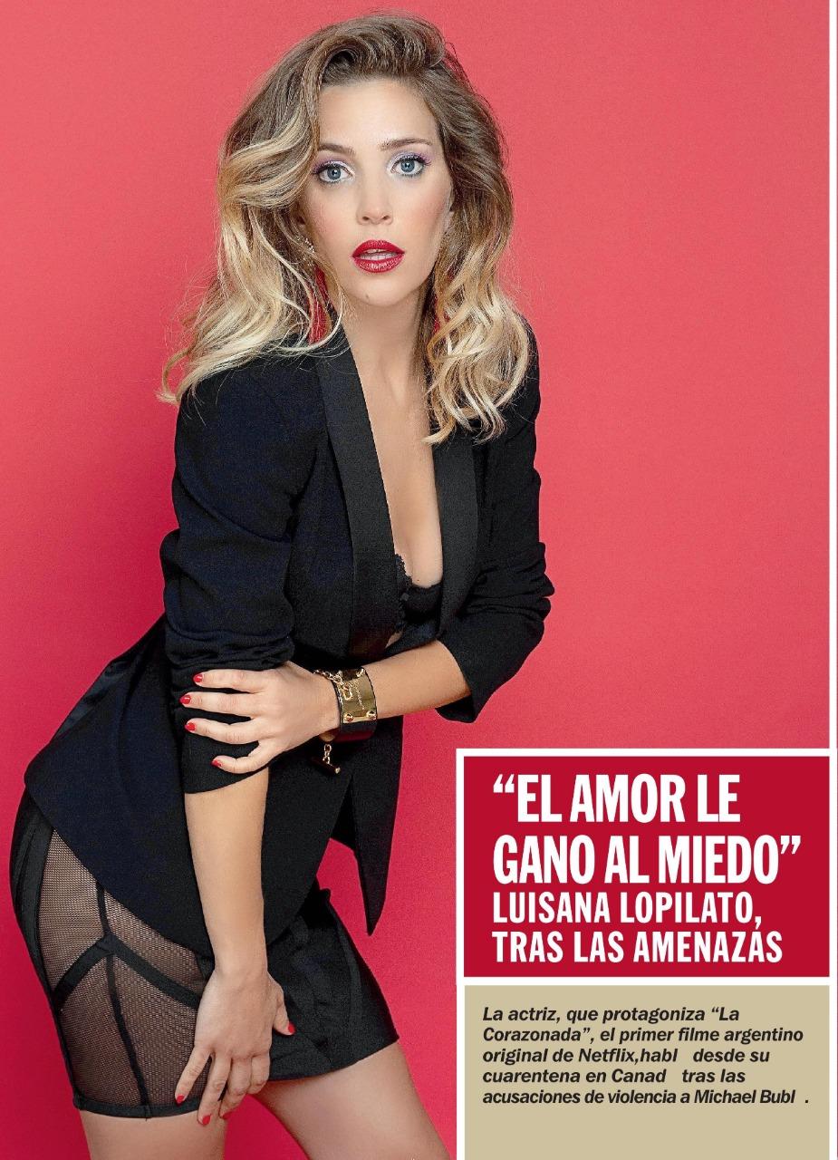 Luisana Lopilato caras magazine black blazer black skirt