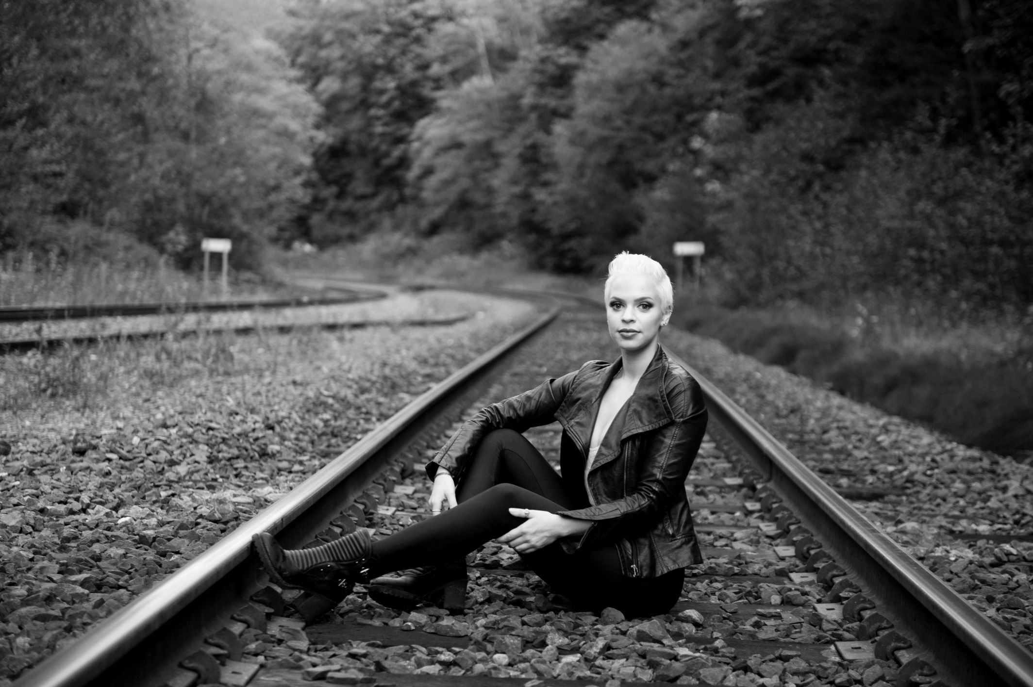 black and white portrait railway track barnet beach vancouver
