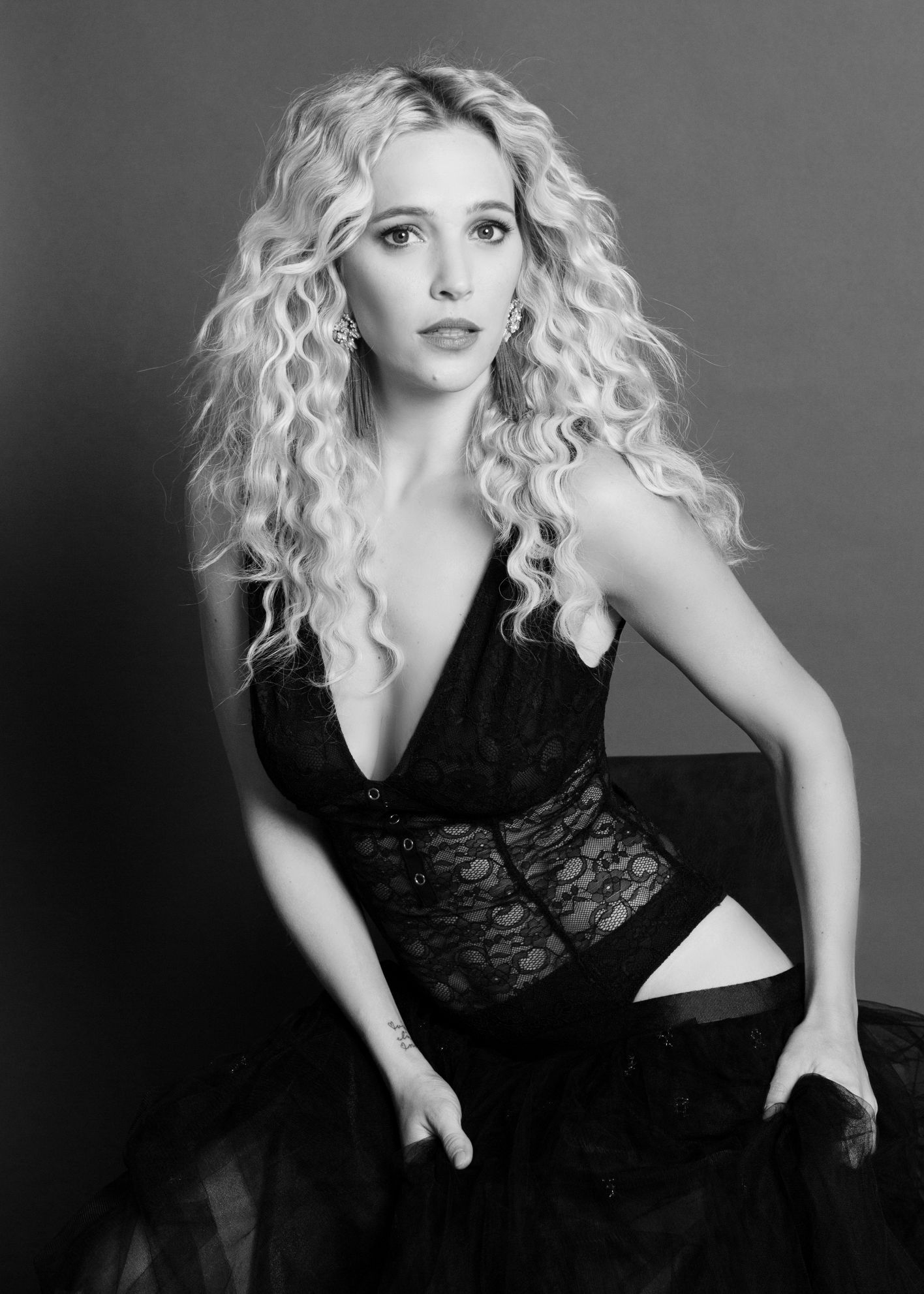 Vancouver Boudoir classic black and white image Luisana Lopilato famous actress