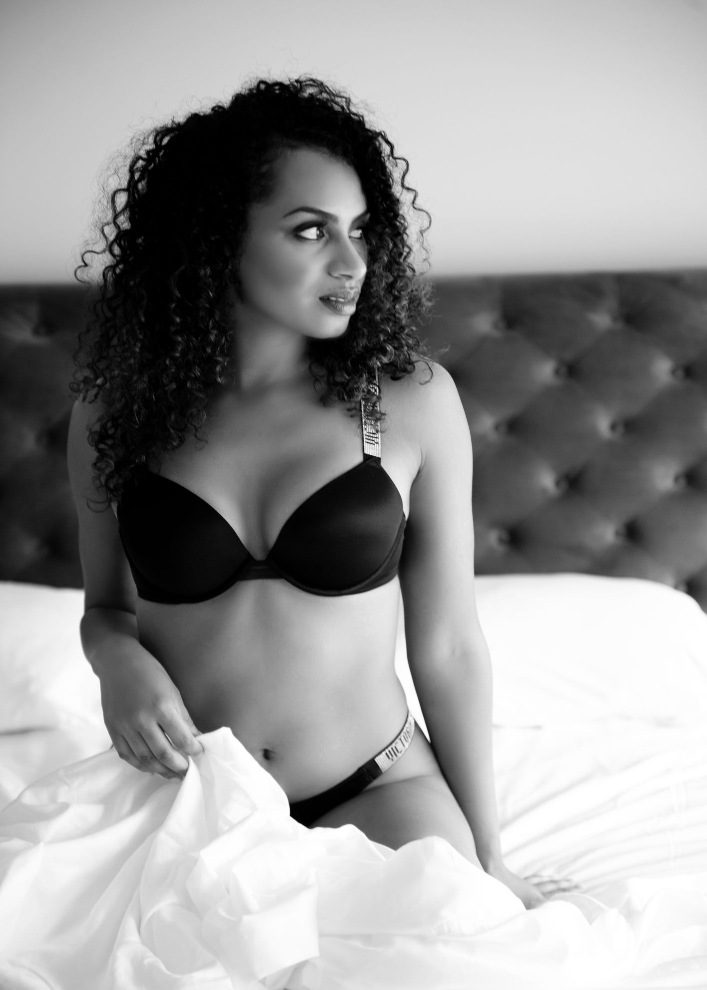 Vancouver boudoir black and white photography beautiful girl victoria secret bra panty 1