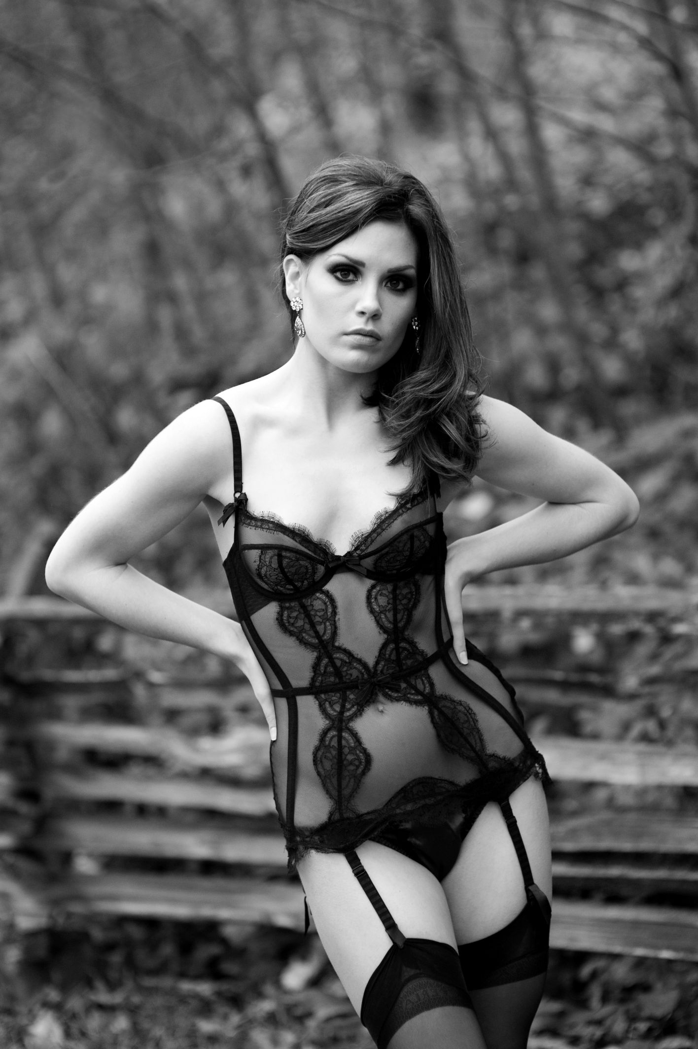 Vancouver boudoir photography sexy woman in black lace bustier