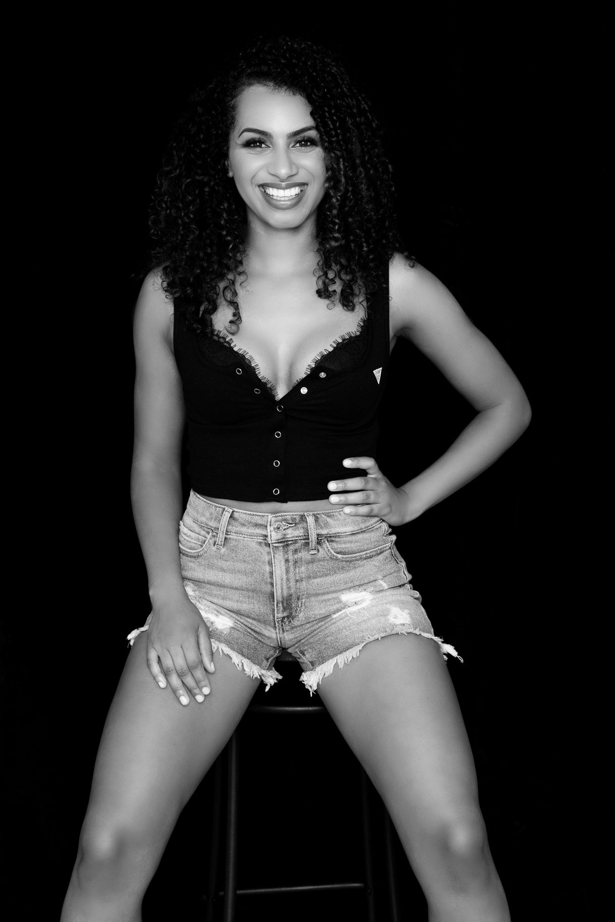 black and white Vancouver boudoir photography guess sexy jean shorts
